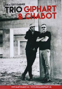 Flyer van de Theatertournee van Ronald Giphart en Bart Chabot 2015 Trio Giphart & Chabot