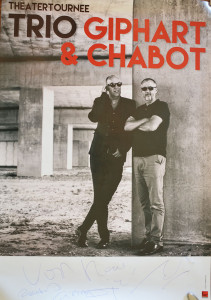 Poster van de Theatertournee van Ronald Giphart en Bart Chabot 2015 Trio Giphart & Chabot