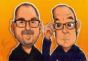 Karikatuur van Ronald Giphart en Bart Chabot getekend door Thijs Wessels